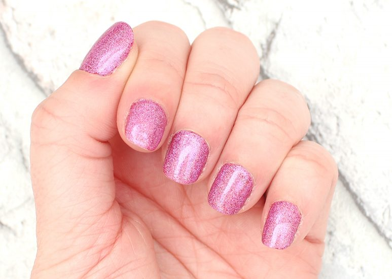 Holographic Pink Pigment Nails